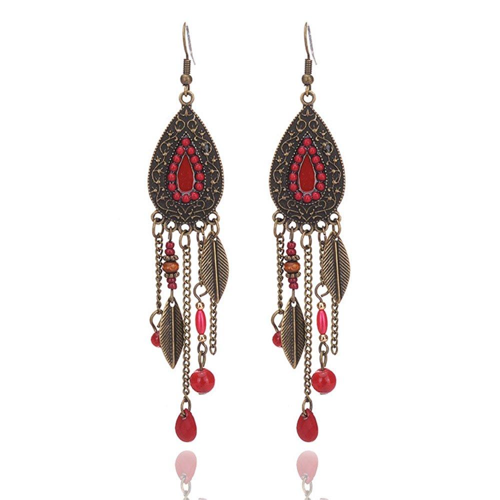 Women Vintage Retro Ethnic Drop Bohemian Dangle Earring Antique Bead Tassel Leaf Earrings MINGHUA