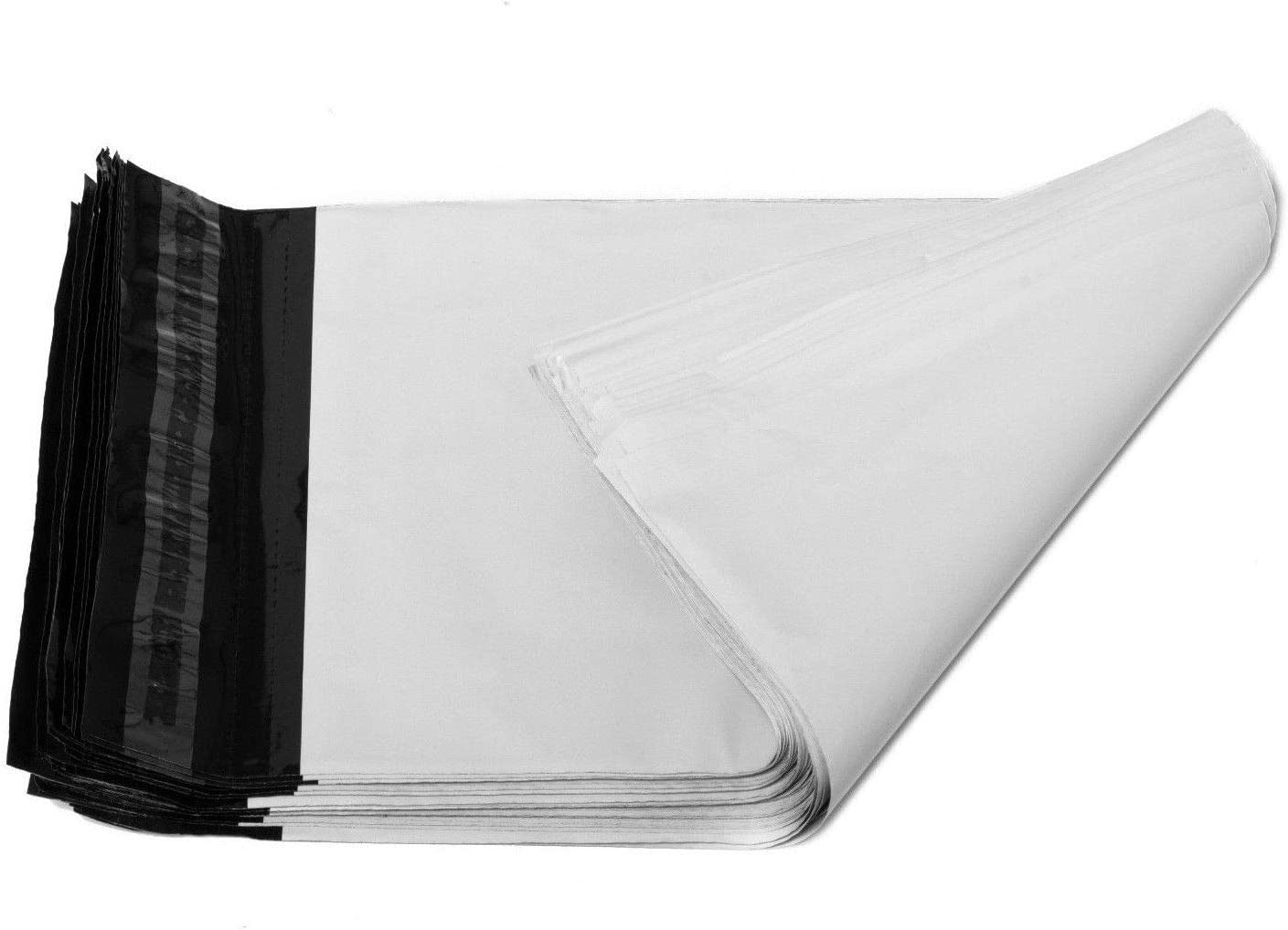Small Waterproof and Tear-Proof EZmailers 100pc 9x12 White Poly Mailer Envelopes with Easy Open Tear Strip Matte 2.35mil Perforated with Self Adhesive 100 Pack
