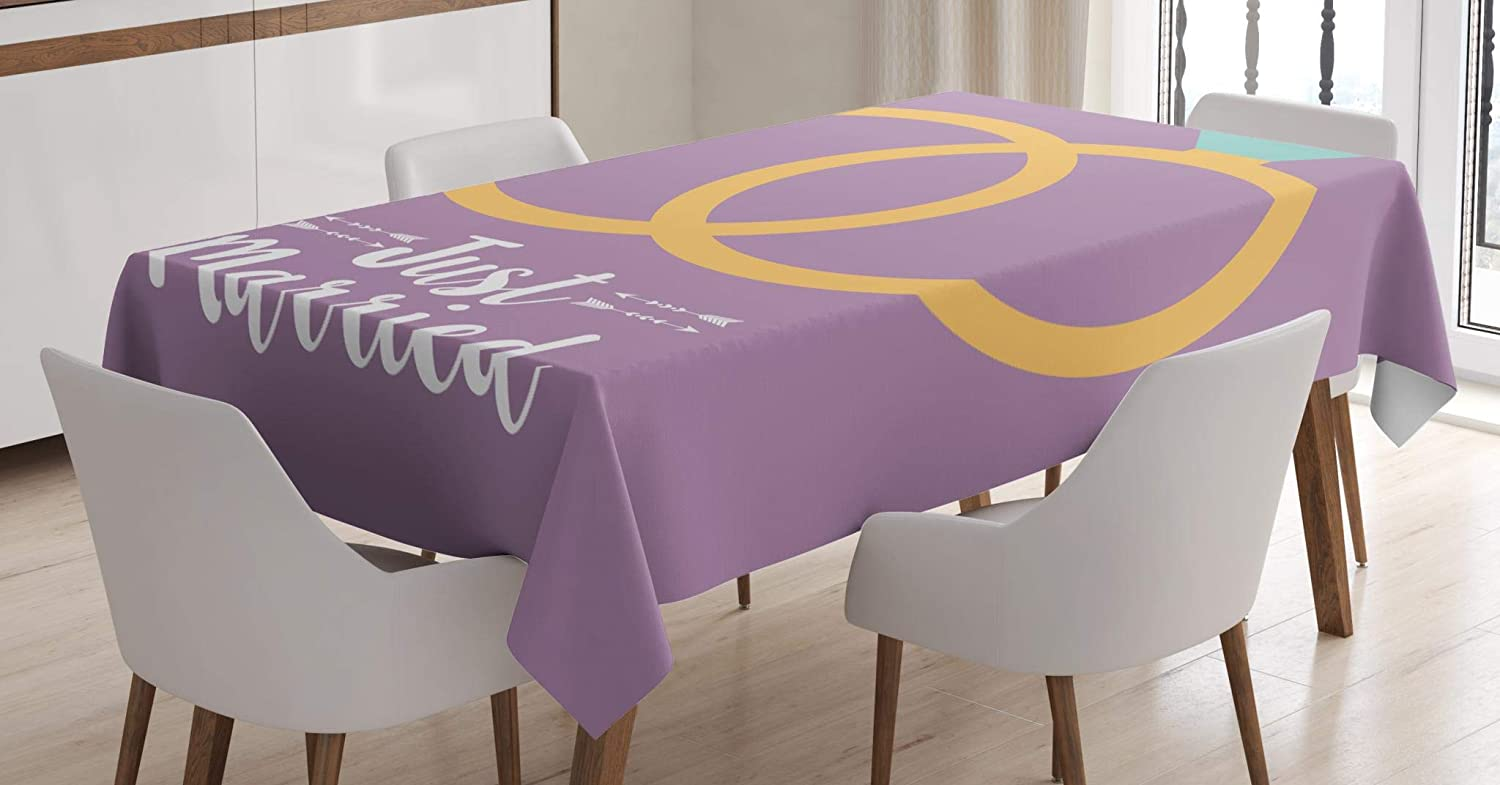 Lunarable Just Married Tablecloth, Couple of Rings Icon Save The Date Wedding and Marriage Theme, Dining Room Kitchen Rectangular Table Cover, 52 W X 70 L Inches, Lilac Mustard Pale Blue