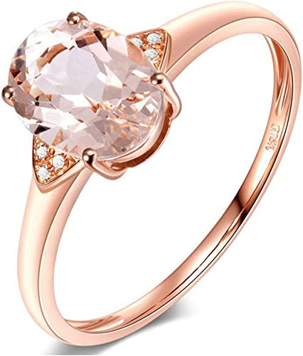 Daesar 18k Yellow Gold Engagement Ring For Her 1ct Morganite Oval Wedding Bands Rose Gold Amazon Co Uk Jewellery