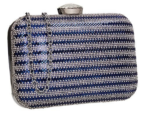 Womens Tone Wedding Blue Clutch Box Prom Party SWANKYSWANS Diamante Bag Two Jane TwxOqSnpg