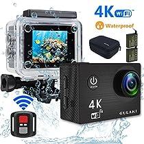 GULAKI Action Cam Full HD 4K 16MP Wi-Fi Azione Cam impermeabile 40M schermo da 2,0 pollici LCD 170 ° wide-angolo con sensore Sony - 2 PC 1050mAh batterie e kit di accessori remoti a 2,4GHz