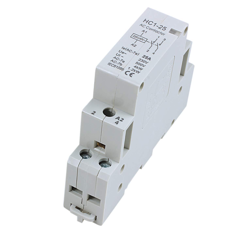 REFURBISHHOUSE AC240V 25A 2 Cana 2P Domestico Cerrado CA Contactor 35mm Carril DIN