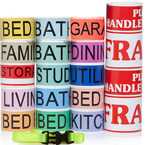 800 Home Moving Packing Labels ~ Stay Organized & Save Time ~ 3x Bigger than Competitors! ~ 4 Bedroom House (850 rolls) Plus 1 Clear Packing Tape w/ Dispenser & 2 Fragile (Bedroom Santa)