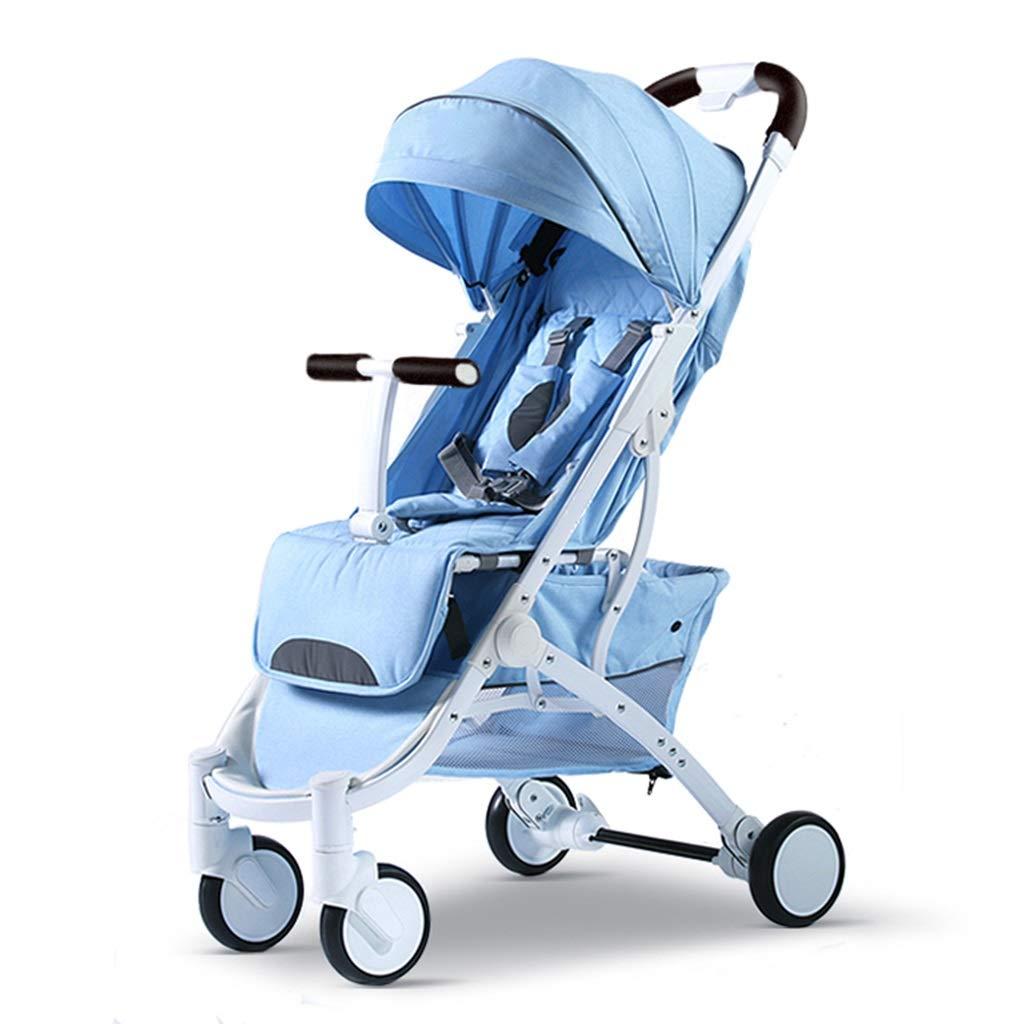 Carrello per Bambini Triciclo per Bambini Bicicletta per Bambini Passeggino Comodo Portatile Carrello Antiurto Pieghevole Sistema da Viaggio (Colore   blu, Dimensione   53  65  101cm)