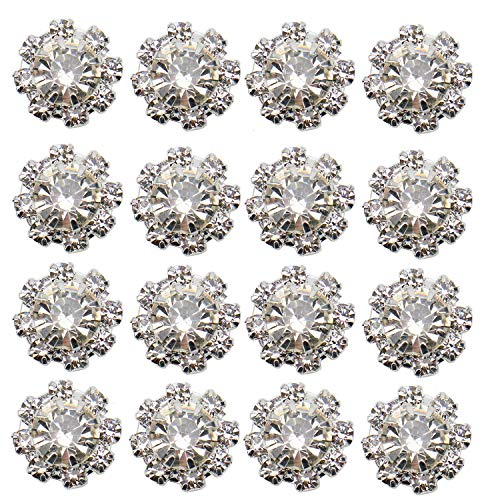 JETEHO 50Pcs Silver Tone Glitter Clear Crystal Rhinestone DIY Embellishments Flatback Buttons Hair Accessories ()