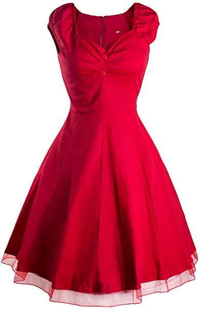 Aivtalk - Mujeres Vestido Retro de 1950s sin Mangas Vintage Swing Rockabilly Dress: Amazon.es: Ropa y accesorios