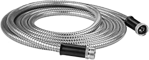 LANGFON 304 Stainless Steel Metal Garden Hose, Black 10 Feet Metal Short Garden Hose with Solid Metal Fittings, Lightweight, Kink Free, Durable and Easy to Store, Outdoor Hose
