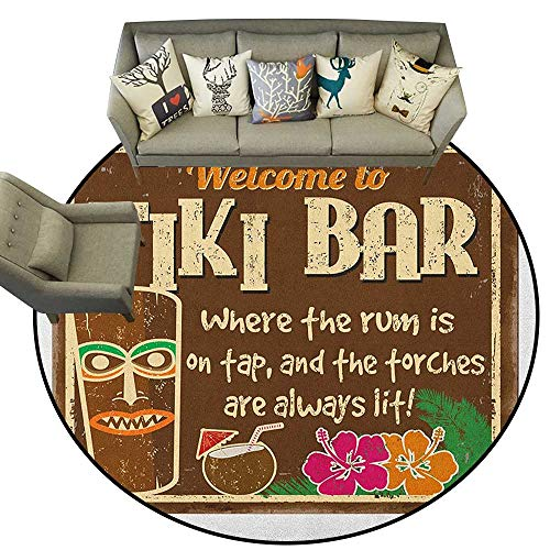 Tiki Bar,Indoor Outdoor Rugs Aged Old Frame Sign of Tiki Bar with Inspirational Quote Leisure Travel Print D40 Super Soft Carpet Floor Mat Home Decor