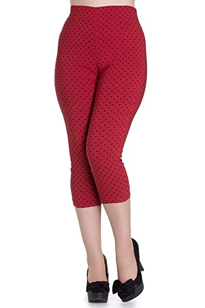 huge discount cfd3b d4ce5 Pantaloni Capri 3/4 di Hell Bunny Rosso Kay A Pois in Stile ...