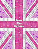Happy 13th Birthday: Notebook, Journal, Diary, 105 Lined Pages, Pink Union Jack Themed Birthday Gifts for 13 Year Old Girls or Boys, Teens, Kids, ... or Son, Best Friend, Book Size 8 1/2' x 11'
