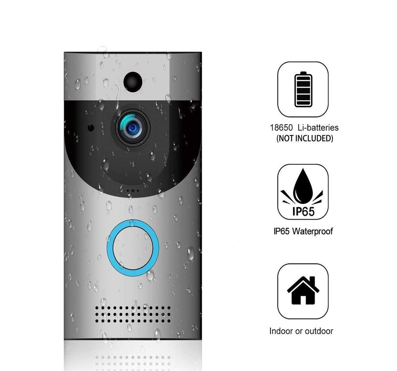 Wifi Video Doorbell, IP65 Wasserdichte Smart Doorbell 720P 2,4 Ghz Wifi-Sicherheitskamera Mit Cloud-Speicher, Nachtsicht Und Zwei-Wege-Audio, PIR-Bewegungserkennung Und App-Steuerung Für Ios Und Android