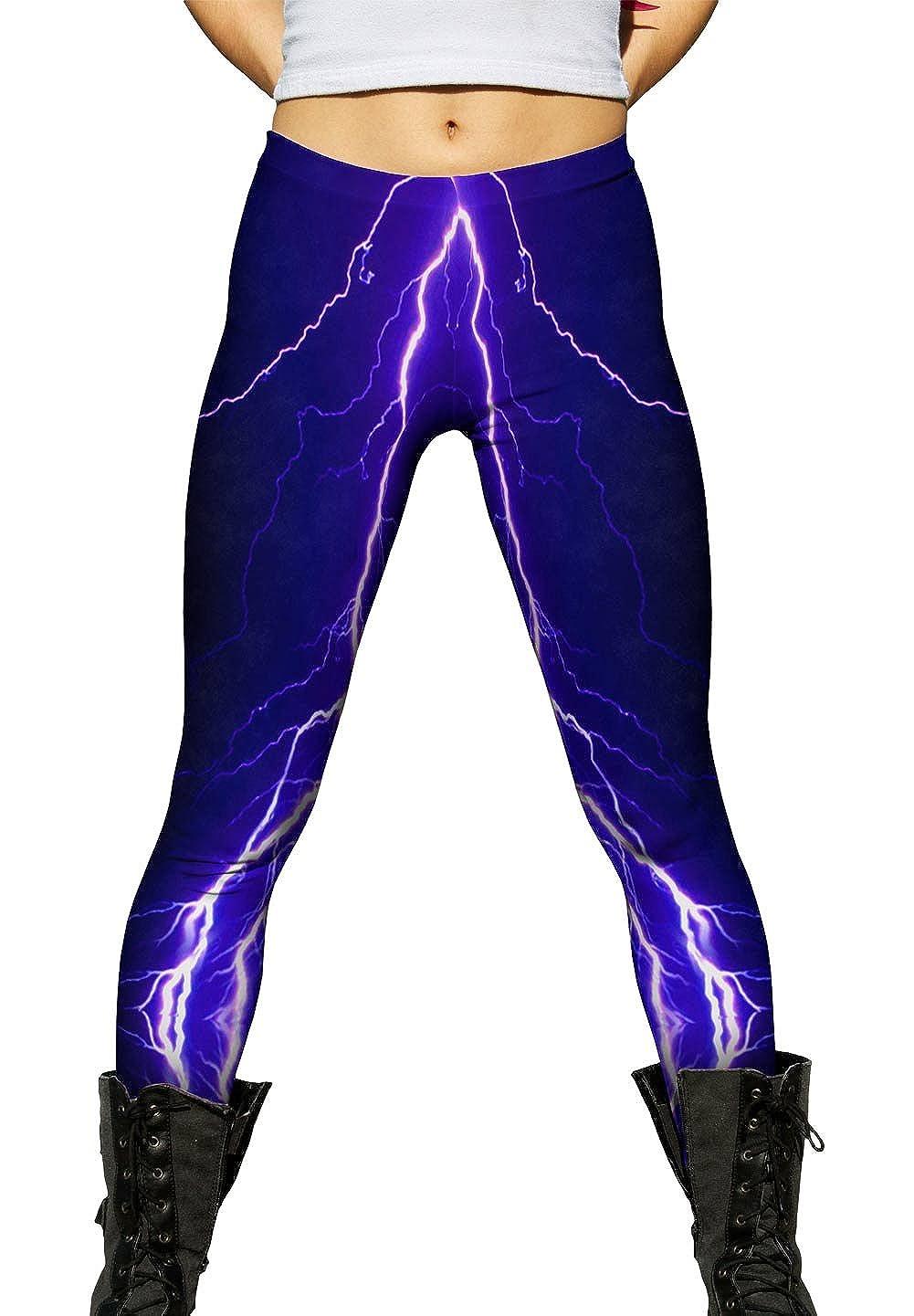 Violet Lightning Storm Ladies Womens Leggings Yizzam
