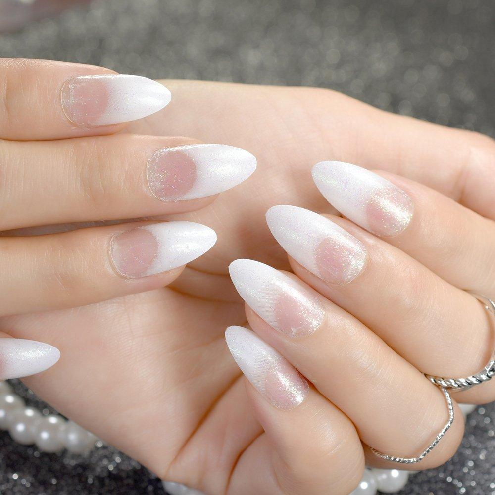 EchiQ - Clavos falsos de color blanco con purpurina brillante punteada Stiletto para uñas postizas