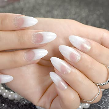 CoolNail White French Fake Nails Clear White with Shimmer Glitter Pointed  Stiletto False Nail Art Tips DIY