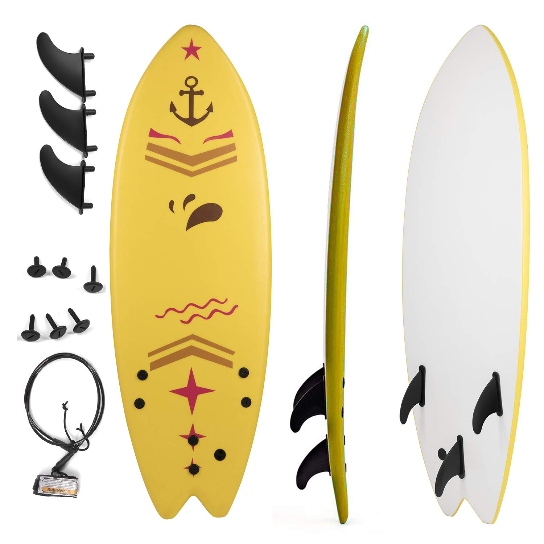 Grande Juguete Surfboard 5'5'', Soft Top Surf Board, Lightweight Surfing Foamie Board Tri Ocean Beach Boards Great for Kids, Adults and Children (Yellow)
