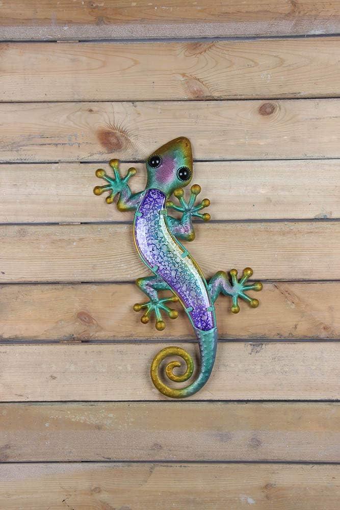 Liffy Gecko Wall Art Metal Lizard Garden Decor Outdoor Glass Decoration Blue 15 Inches Long
