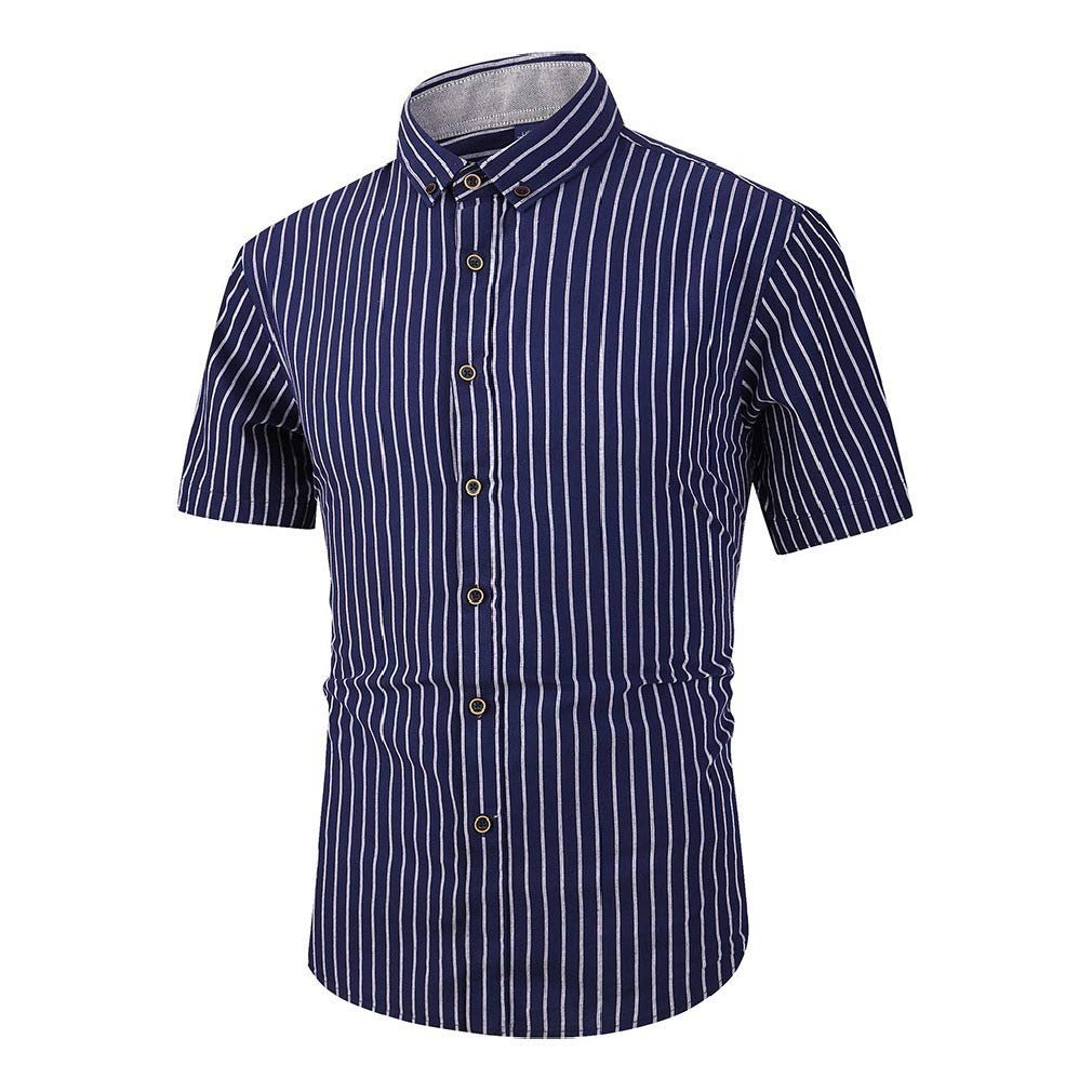 Abetteric Mens Cotton Stripe Short Sleeve Button Down Dress Shirts Tops
