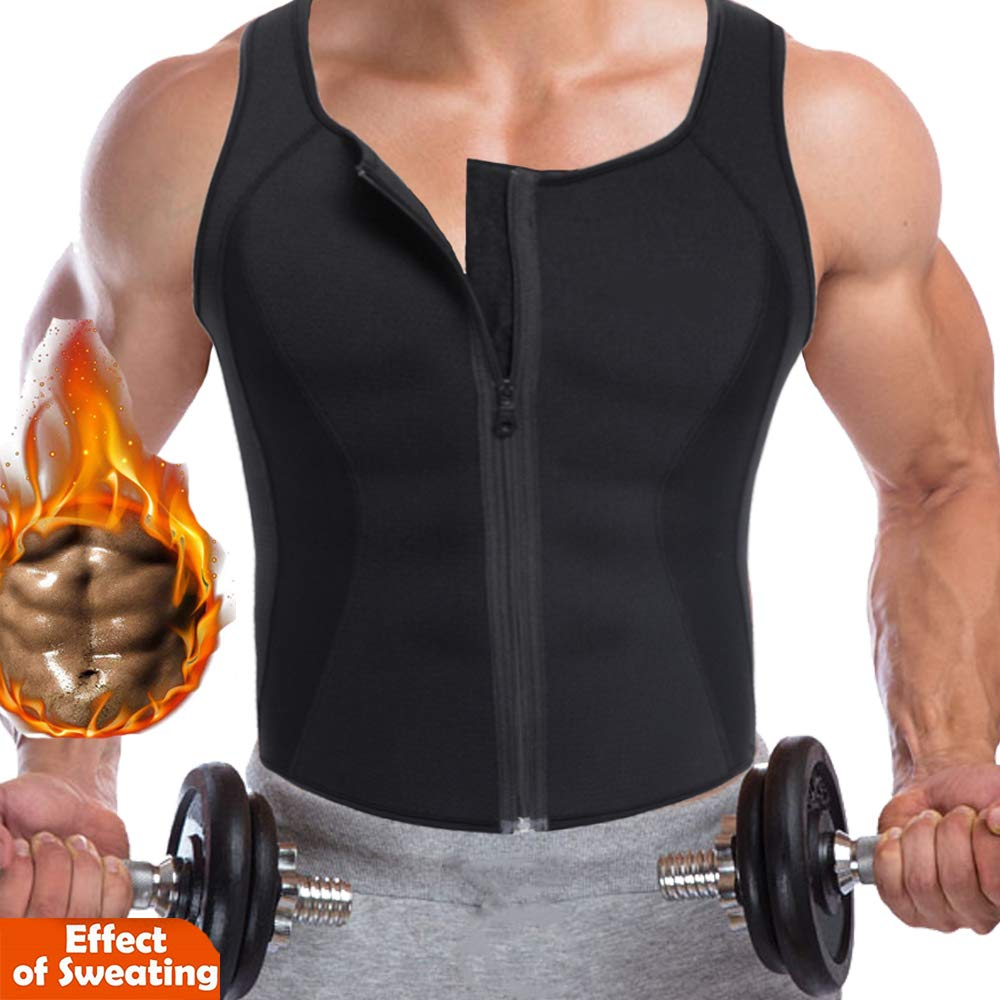 CROSS1946 Men Waist Trainer Vest Hot Neoprene Corset for Weightloss Zipper Sauna Tank Top Mesh Workout Shirt