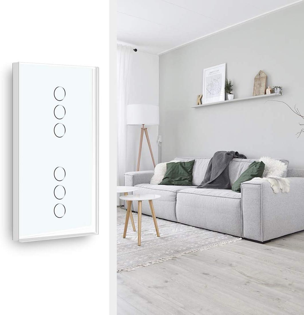 se necesita alimentaci/ón neutral BSEED Doble WiFi Toque 3 Gang 1 Way 86 Interruptor de luz de pared Black Alexa//Tuya//IFTT Compatible Glass Panel 157