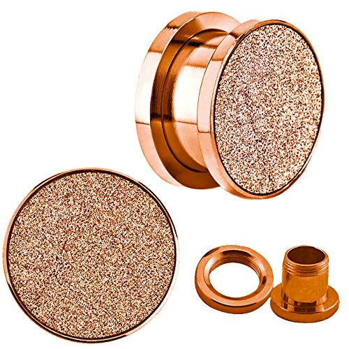 2g Sand (Rose Gold Sandpaper Texture Top Screw Fit Anodized Surgical Steel Ear plugs / ear tunnels - 2g=6mm)