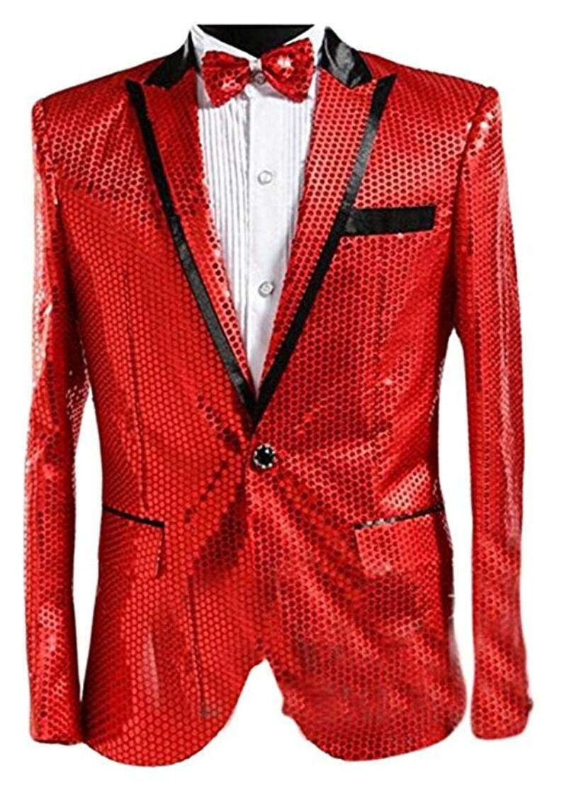 Men's Silver Sequined Nightclub Tuxedo One Button Blazer Jacket Wedding Coat