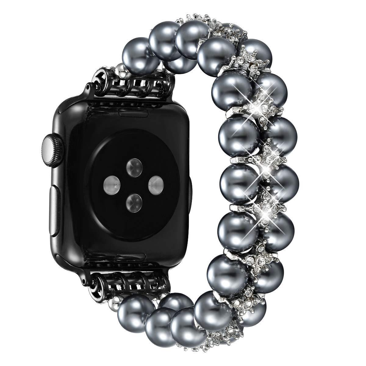 fastgo Apple Watchバンド 38mm 40mm 42mm 44mm レディース ガールズ ファンシー ハンドピック 人工パール 伸縮性 ストレッチブレスレット ジュエリーリストバンド iWatchシリーズ4/3/2/1に対応 42mm/44mm スペースグレー (Space Gray) B07S2272J8
