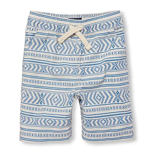 Cotton Pull On Shorts (The Children's Place Big Boys' Khaki Printed Short, millstone, 10)
