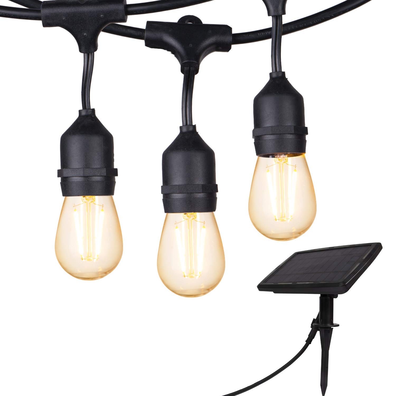 Outdoor Solar String Lights 28 Ft Vintage S14 Hanging Patio Lights with 12 Shatterproof Dimmable LED Bulbs, Auto on/Off for Outdoor Bistro Cafe Garden Backyard Balcony Porch Gazebo Decor, Black