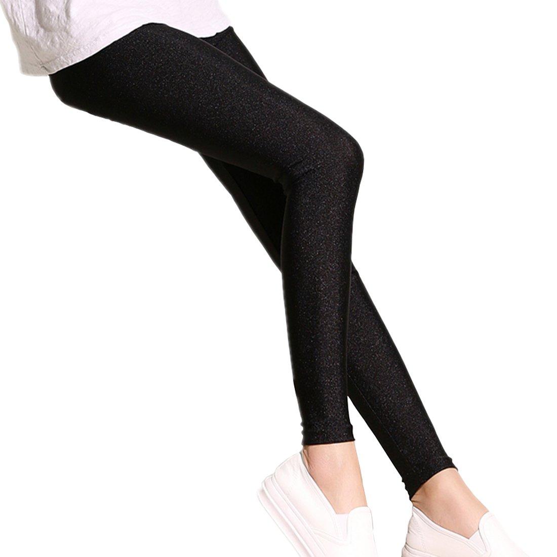 Weigou Women Leggings Spring Summer Autumn Shiny Thin Slim Tights Stretch Basic Lady Leggings Pantyhose Pants (XL, Black)