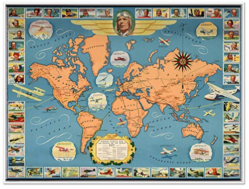 Famous flights and air routes of the world MAP circa 1937 -