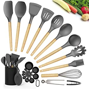GEEKHOM Silicone Kitchen Utensils, 22 in 1 Nonstick Cooking Utensil Set with Wooden Handle, Heat Resistant BPA Free Non Toxic Large Kitchen Tools with Holder (Gray)