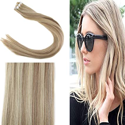 Sunny Dip Dyed Extensiones Adhesivas Pelo 20pcs/50g Remy Recto Skin Weft Tape in Ceniza