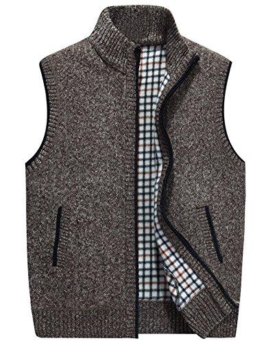 IDEALSANXUN Mens Stand Collar Thicken Knit Full Zip Cardigan Sweater Vest (Khaki, Large)
