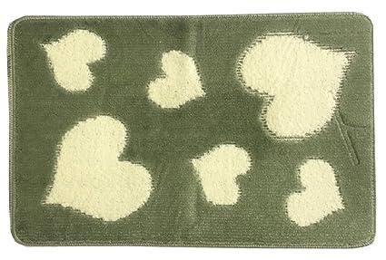 Set tappeti bagno antiscivolo 3pz fantasia cuori fiori cuori verde