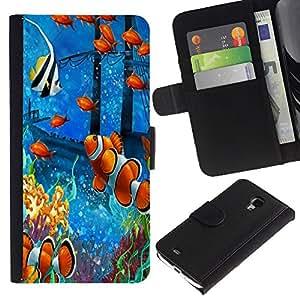 """Samsung Galaxy S4 Mini i9190 / i9195 (Not For Galaxy S4) , la tarjeta de Crédito Slots PU Funda de cuero Monedero caso cubierta de piel ("""" Fish Painting Underwater Sea Coral Koi"""")"""