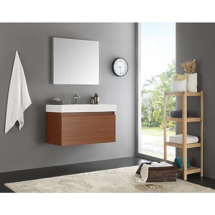 Fresca Mezzo 36u0026quot; Teak Wall Hung Modern Bathroom Vanity With Medicine  Cabinet