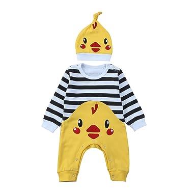 3bc201623d Mornbaby Newborn Cute Animal Romper Baby Long Sleeve Panda Chicken Strip  Bodysuit Hat Outfit Set -