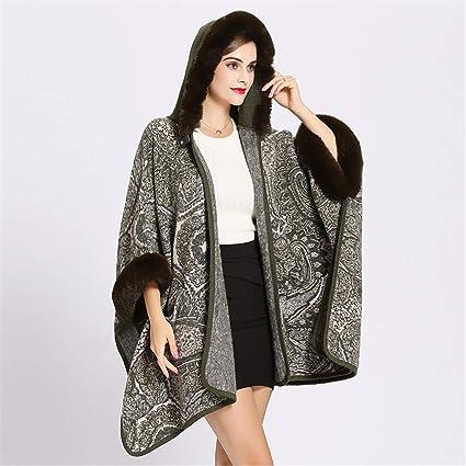Yishelle Capa Pounch con Capucha de Piel sintética para Damas con Abrigo de mantón de Bolsillo
