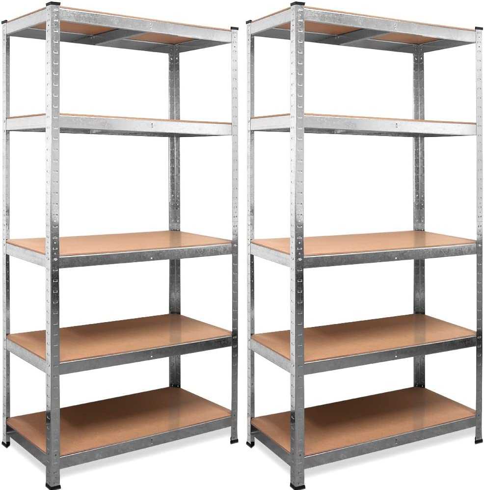 Deuba Set 2 Estanterias Metálicas 5 niveles almacenamiento 180x90x40 cm Carga máxima de 875kg Metal galvanizado