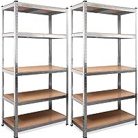 Monzana Stellingkast 2 stuks Opbergkast - Planken 180 x 90 x 40 cm - 875 kg Draagvermogen Rekken 5 Niveaus Metalen frame…
