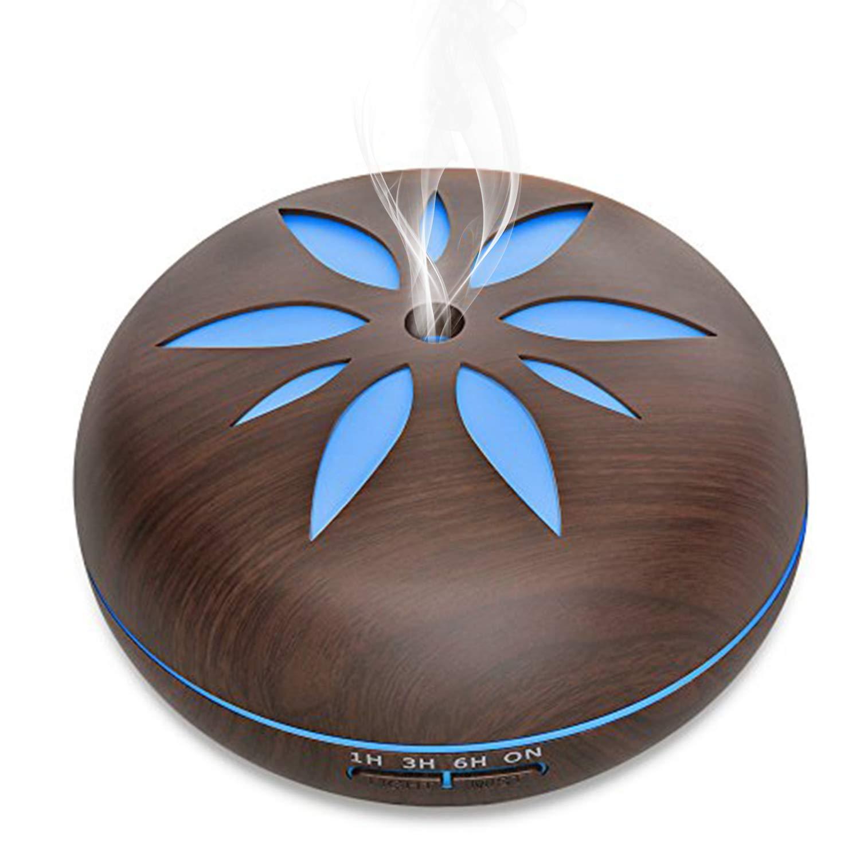 Diffuseur d'Huiles Essentielles, BWORPPY 550 ml humidificateur à brume fraîche ultrasonique avec 7 couleurs LED lumières changeantes pour la maison, yoga, bureau, spa, chambre à coucher, chambre de bébé (Jaune)