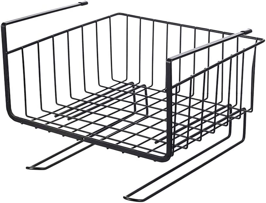 Noir Organisateur Polyvalent de Panier de Rangement en Fil pour Cuisine WZF Hanging Under Shelf Basket Storage Couleur: Noir Salle de Bain et Solution de Rangement pour Cuisine Blanc