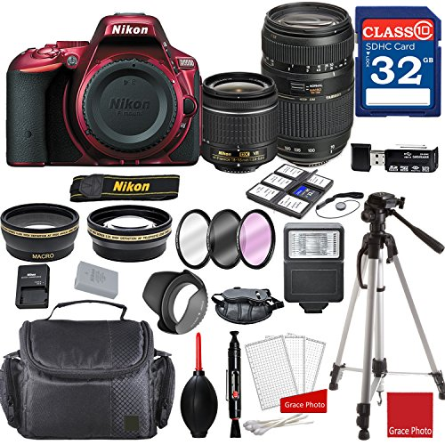 Nikon D5500 DX-format Digital SLR (Red) w/AF-P DX NIKKOR 18-55mm f/3.5-5.6G VR Lens & Tamron 70-300mm f/4-5.6 Di LD Macro Autofocus Lens + Professional Accessory Bundle