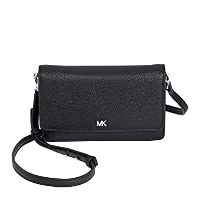 eec256ffea4d0f Michael Kors Pebbled Leather Convertible Crossbody- Black: Handbags ...