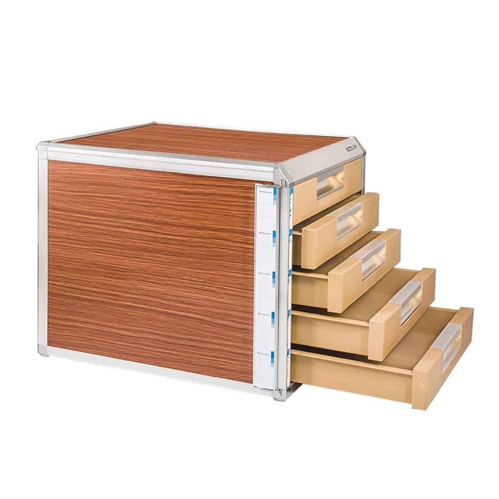 QSJY File Cabinets Document Storage Cabinet, Desktop Extension Drawer Lockable Office Organizer (Wood Board/Aluminum Alloy/Plastic) 35x31.5x29.8cm