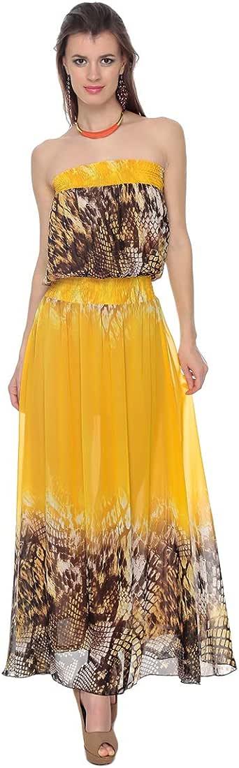 Cocum Lew Tube Maxi Dress For Women - 12 Uk, Yellow/brown