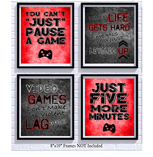 Video Game Themed Art Print Room Wall Decoration (Set or Four) Gamer (Red)