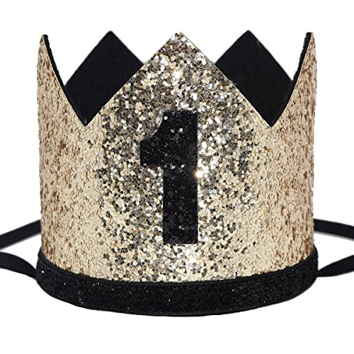Maticr Glitter Baby Boy First Birthday Crown Number 1 Headband Little Prince Princess Cake Smash Photo Prop (Large Gold & Black -