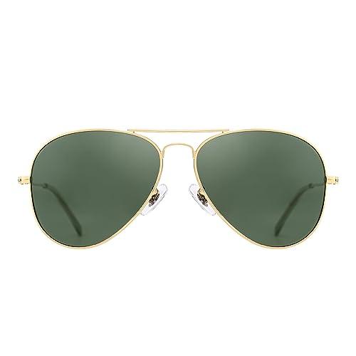 87081780ed Amazon.com  Retro Polarized Aviator Sunglasses Flash Tinted Lens Eyeglasses  for Women Men UV400 (Gold Alloy   Polarized Green)  Shoes